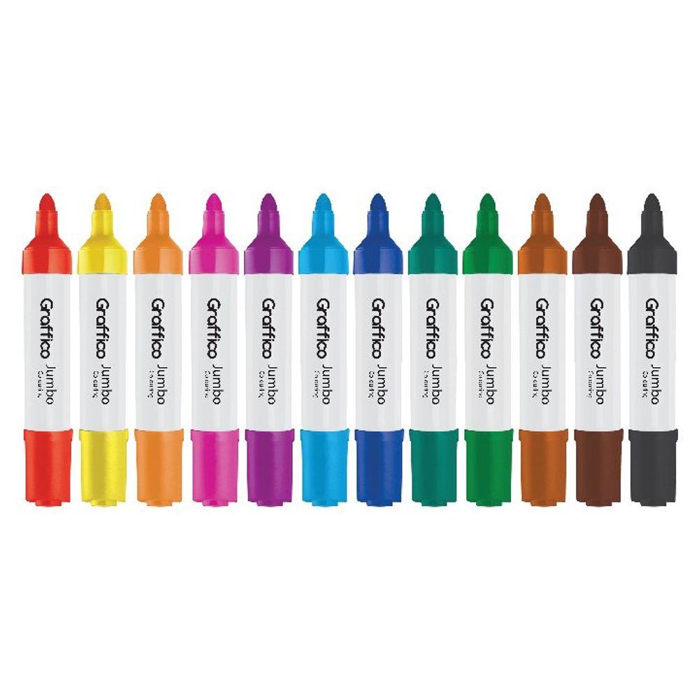 Graffico Assorted Jumbo Marker Pens, Pack of 12 - LL04955