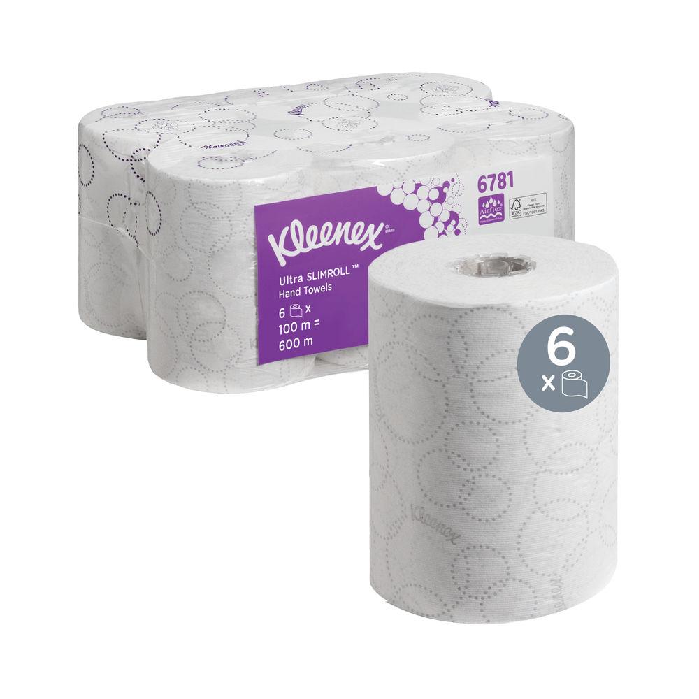Kleenex White 2-Ply Ultra Slimroll Hand Towel Rolls, Pack of 6 - 6781