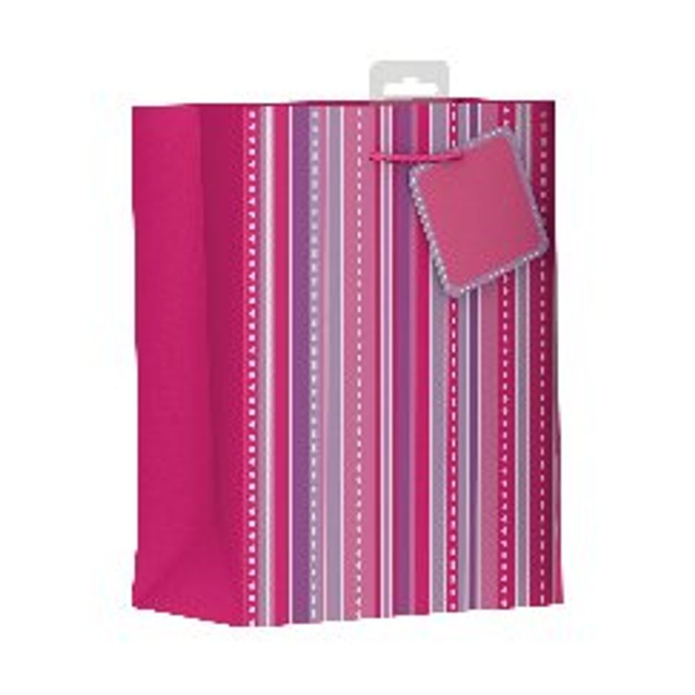 Giftmaker Pink Vertical Stripe Medium Gift Bags, Pack of 6 - FSCM