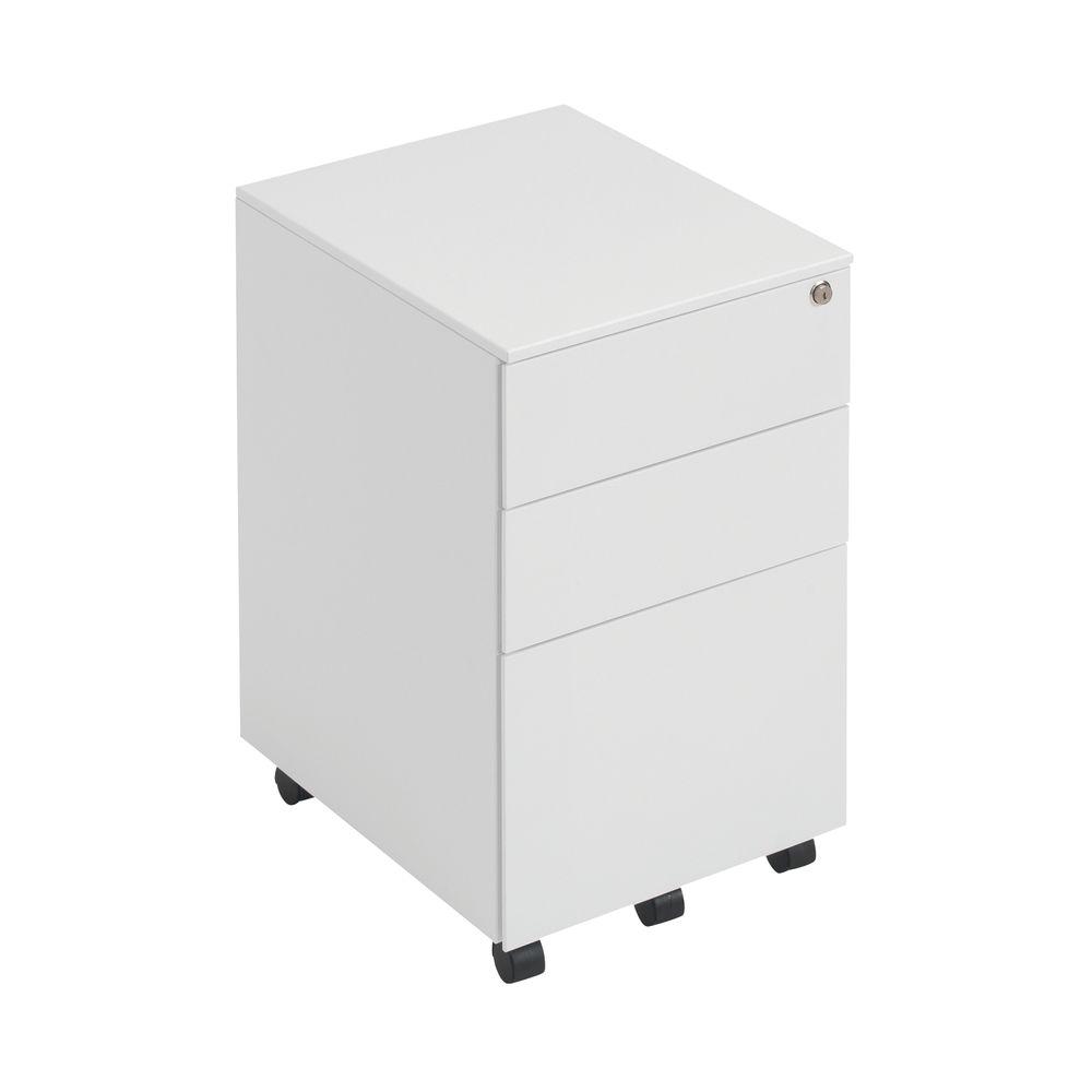 First 615mm White 3 Drawer Under Desk Pedestal