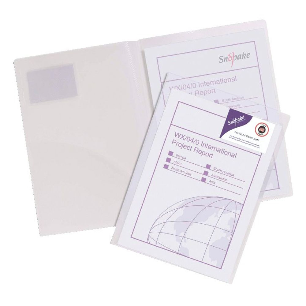 Snopake A4 Twin Pocket Clear Classic File - Pack of 5 -14030