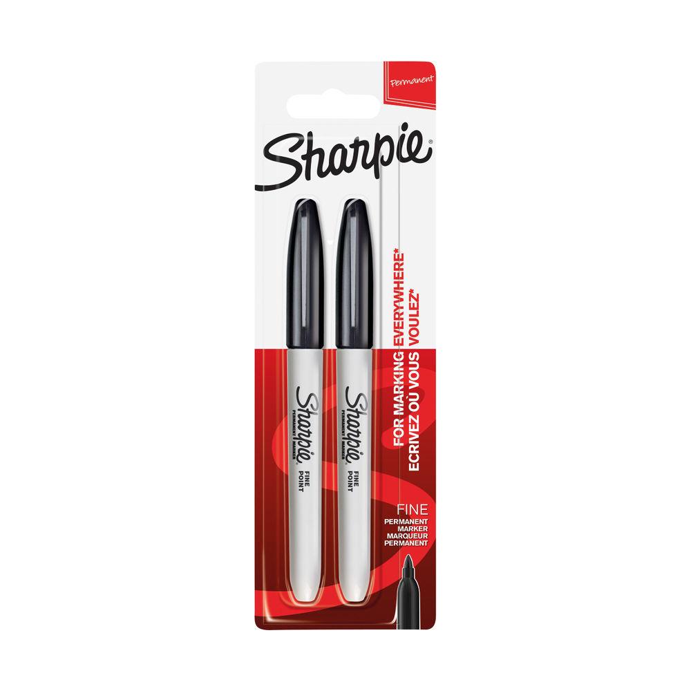Sharpie Black Fine Marker Pens, 12 Packs of 2 - 1936468