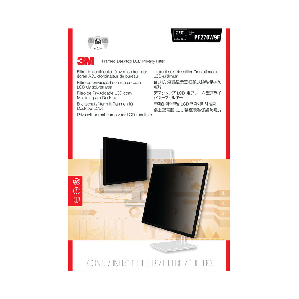 3M 27 Inch Widescreen Privacy Filter For Desktop LCD Monitor - PF270W9B