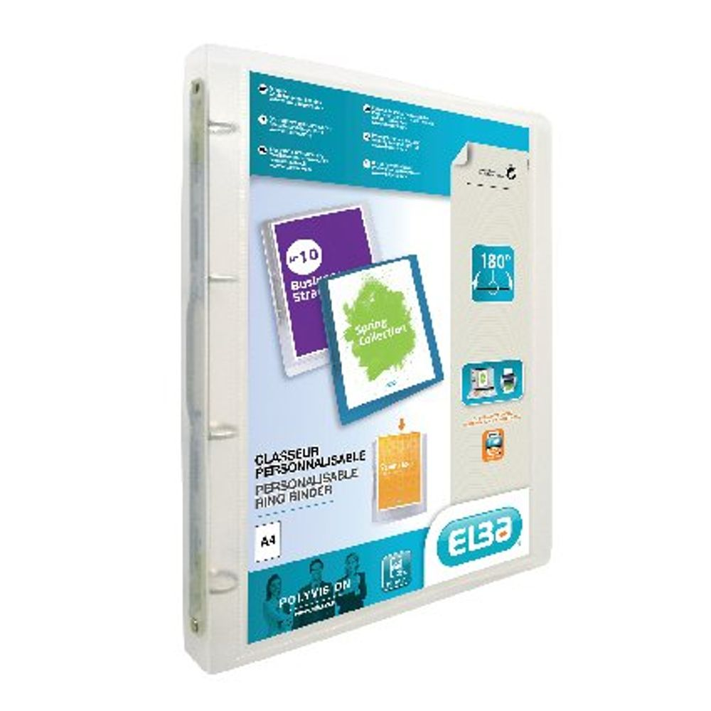 Elba Polyvision Clear A4 4 O-Ring Binder 25mm, Pack of 12 - 100201432