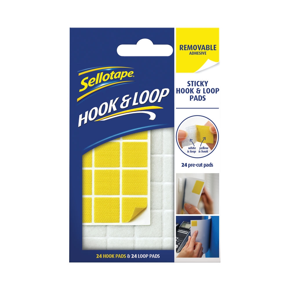 Sellotape Sticky Hook and Loop Pads Removable 20mmx20mm (Pack of 24) 2055468