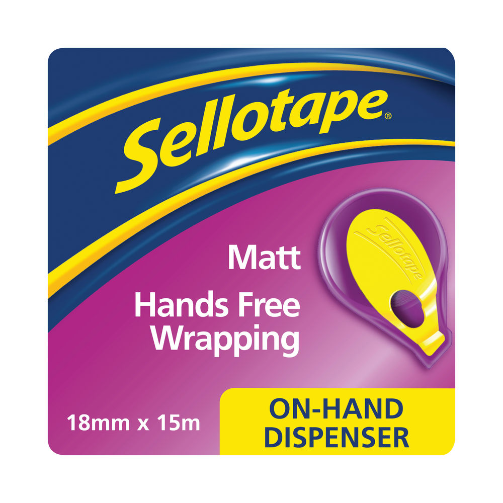 Sellotape On-Hand Dispenser with Invisible Tape 18mmx15m 2379004
