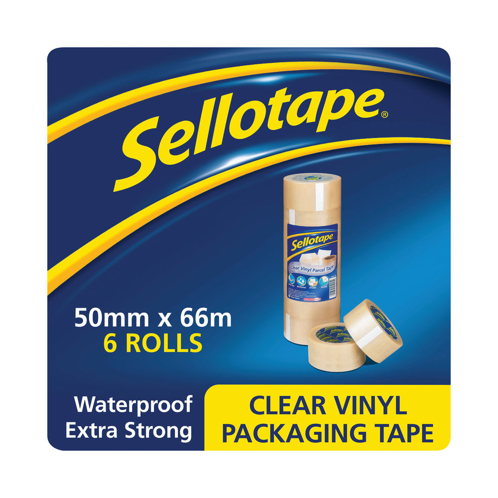 Sellotape 50mm x 66m Clear Vinyl Case Sealing Tapes, Pack of 6 - 1445488