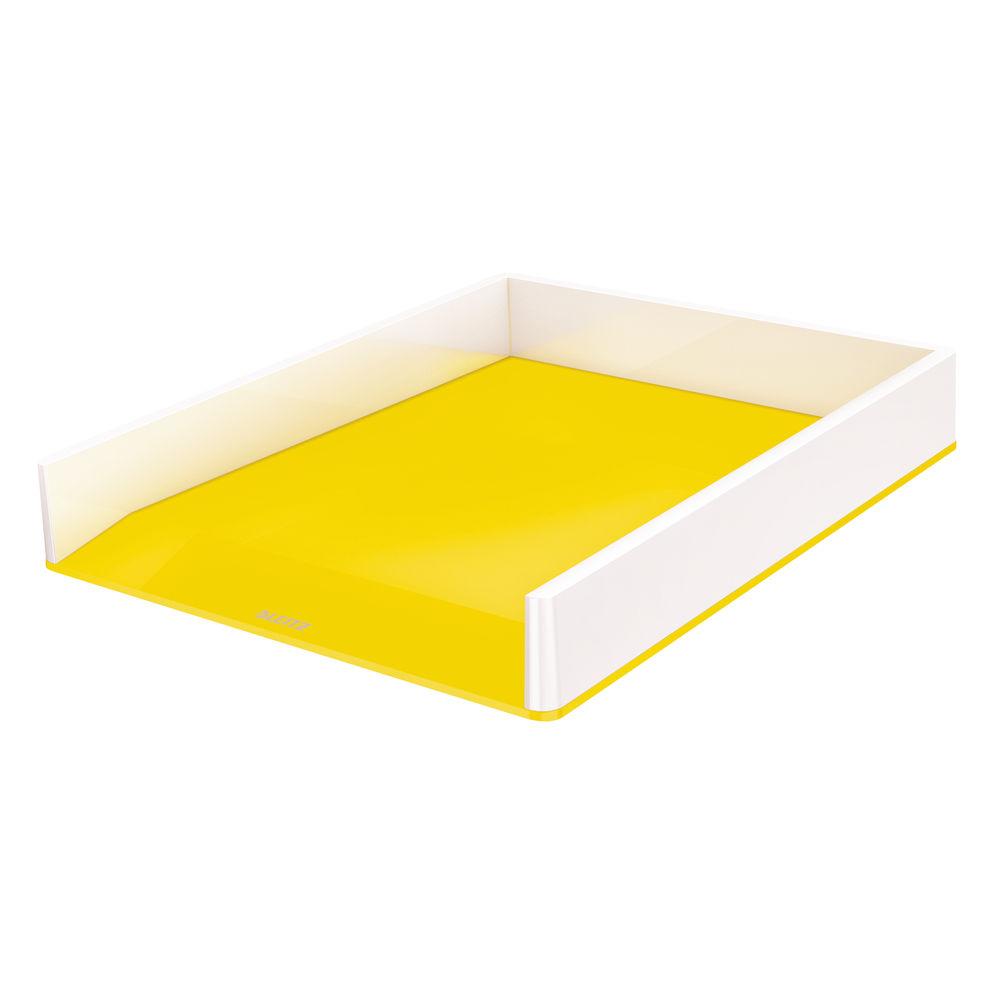Leitz WOW White and Yellow Dual Colour Letter Tray - 53611016