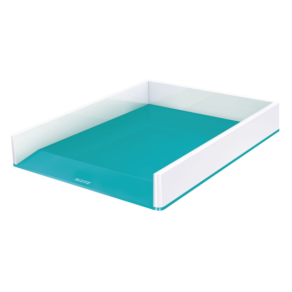 Leitz WOW White and Ice Blue Dual Colour Letter Tray - 53611051
