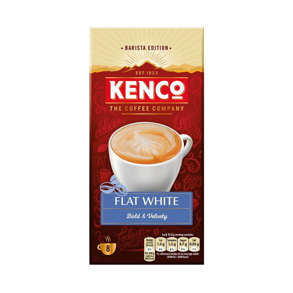 Kenco Flat White Instant Coffee (Pack of 8) 4041493