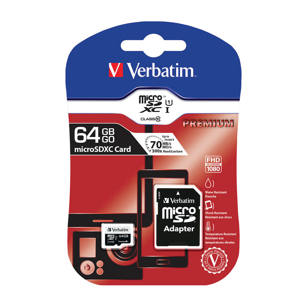 Verbatim Premium SDXC Micro Card 64GB with Adapter 44084