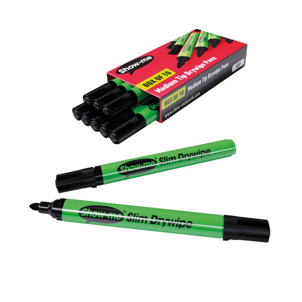 Show-me Black Medium Drywipe Markers, Pack of 10 - SDP