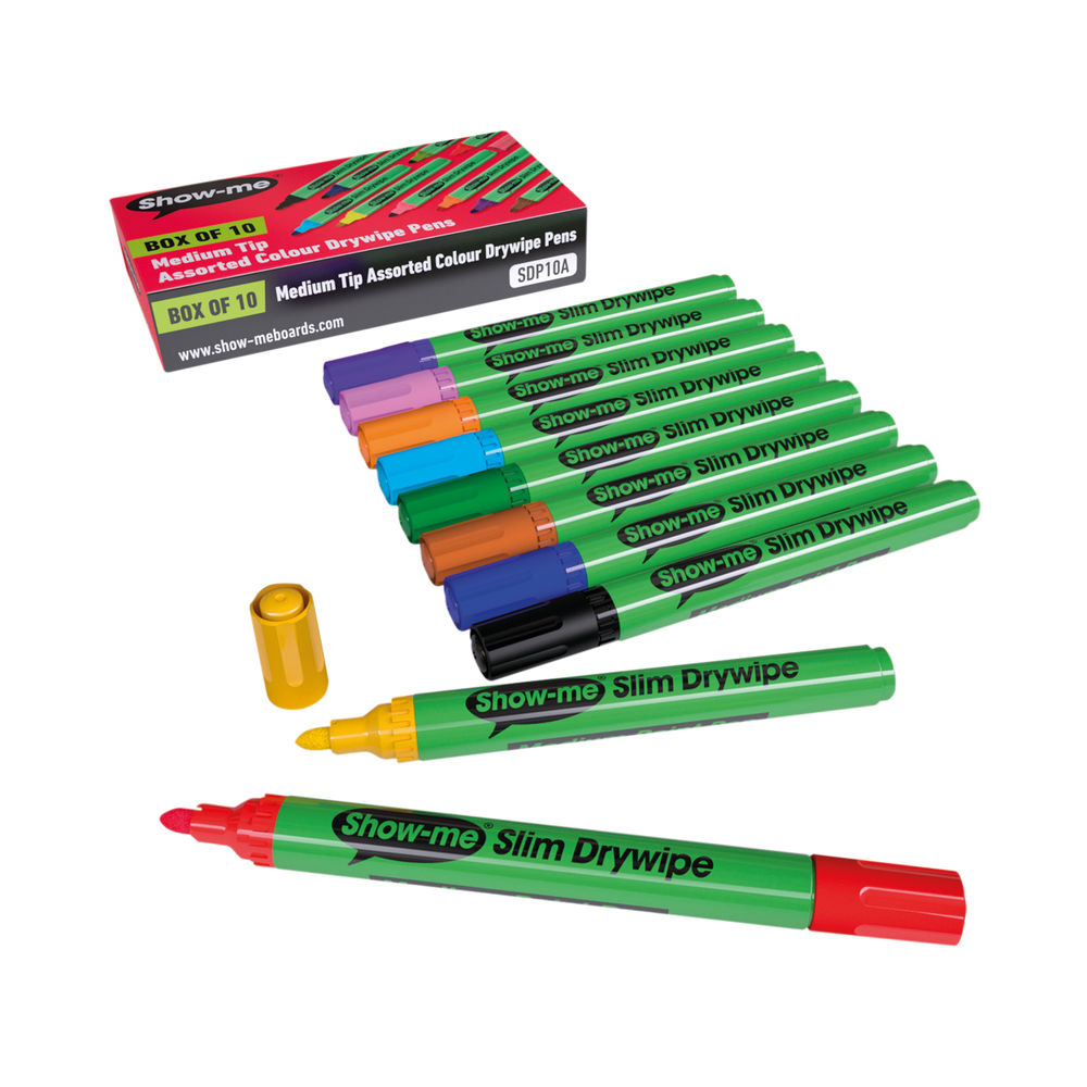 Show-me Drywipe Marker Medium Tip Assorted (Pack of 10) SDP10A