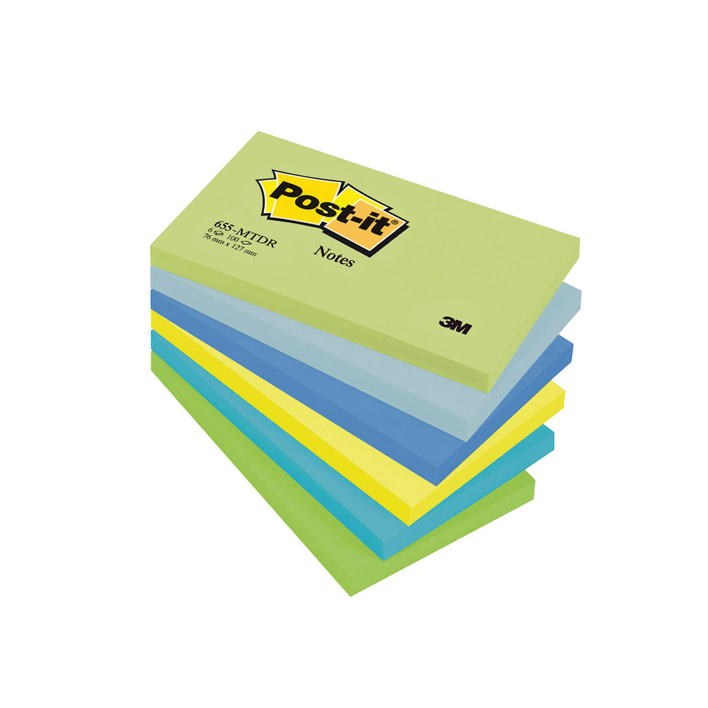 Post-it 76 x 127mm Dream Colours Notes, Pack of 6 | 655MT