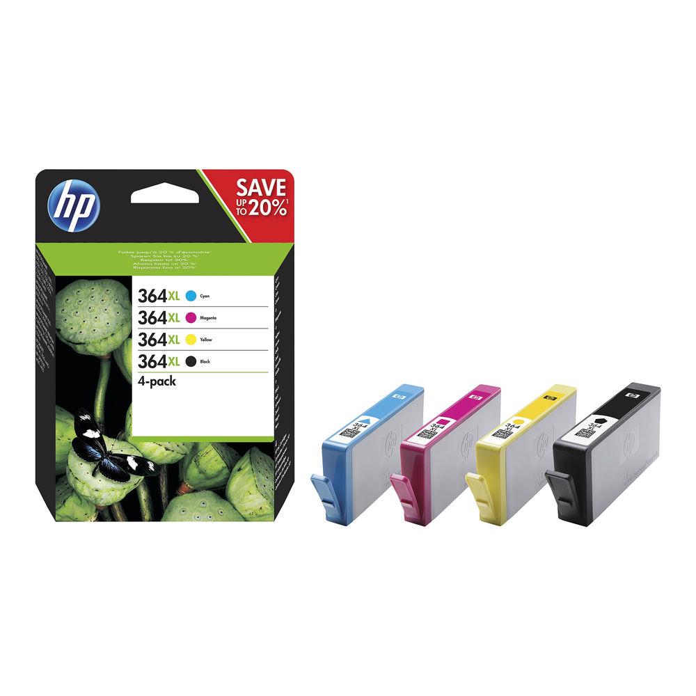 HP 364XL Cyan/Magenta/Yellow/Black Ink Cartridges High Yield Combo 4-Pack N9J73A