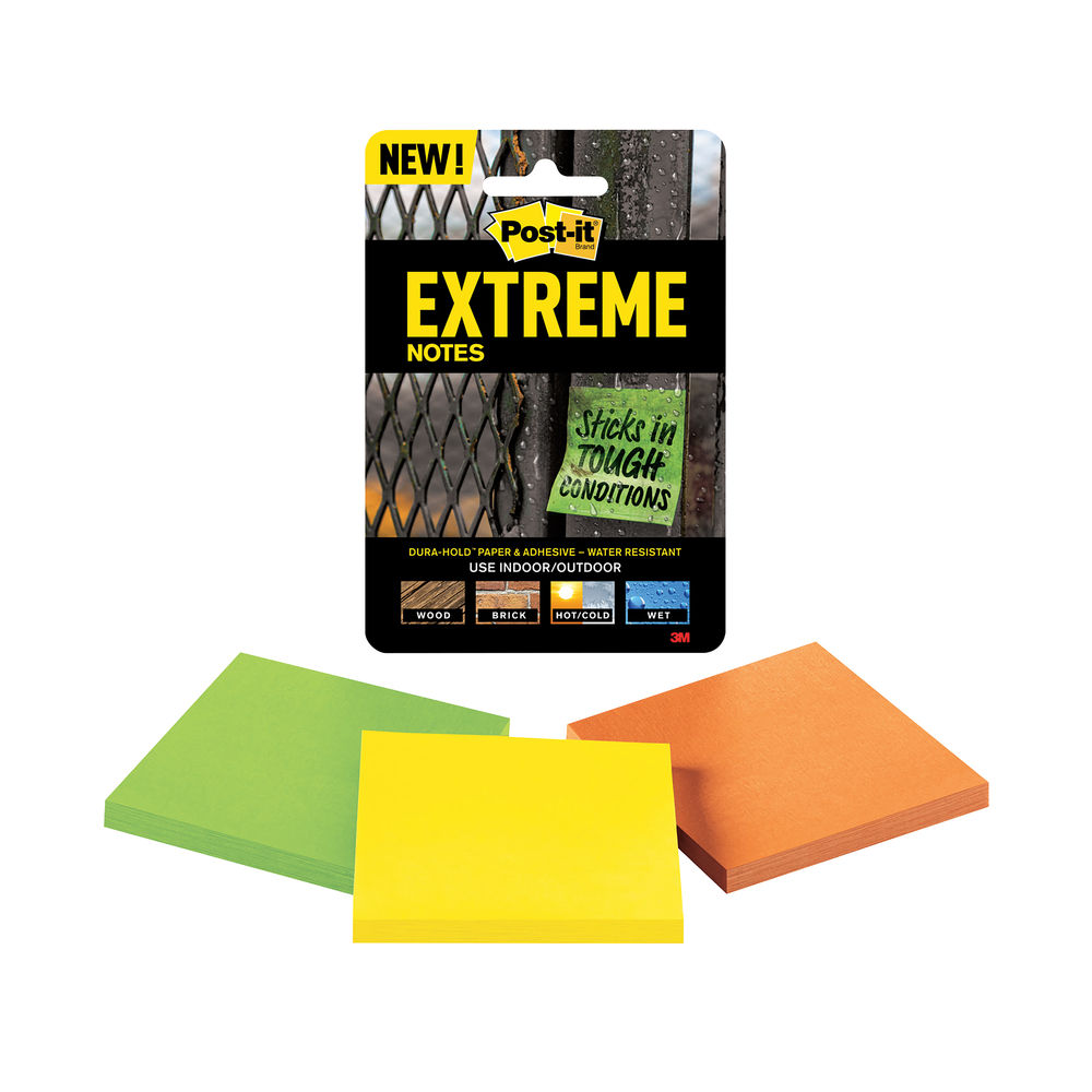 Post-it 76 x 76mm Assorted Extreme Notes, Pack of 3 - EXT33M-3-UKSP