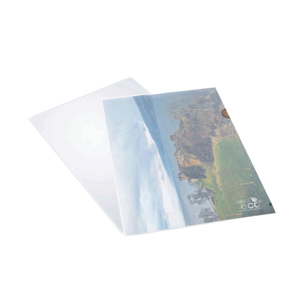 Rapesco A4 Clear Eco Cut Flush Folders (Pack of 100) - 1105