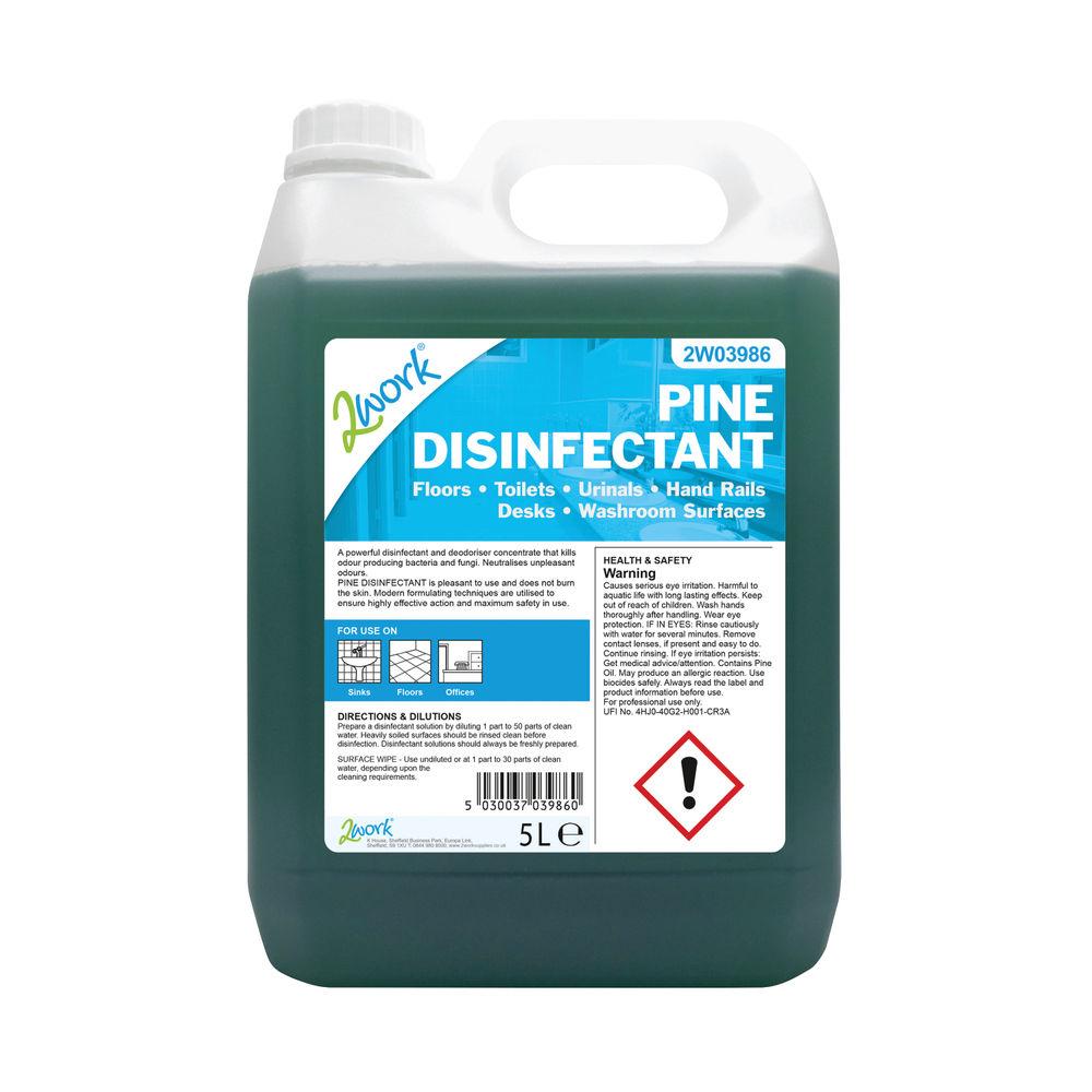 2Work Disinfectant and Deodoriser Fresh Pine 5 Litre Bulk Bottle 2W03986