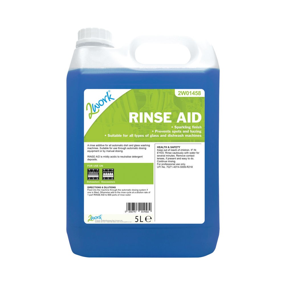 2Work Concentrated Rinse Aid Additive 5 Litre Bulk Bottle 2W01458