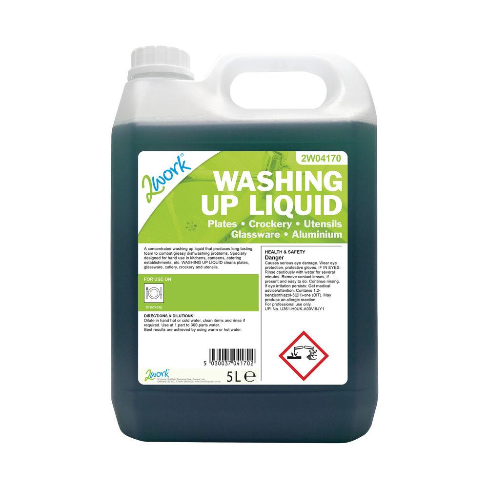 2Work Gentle Washing Up Liquid Fresh Scent 5 Litre Bulk Bottle 2W04170