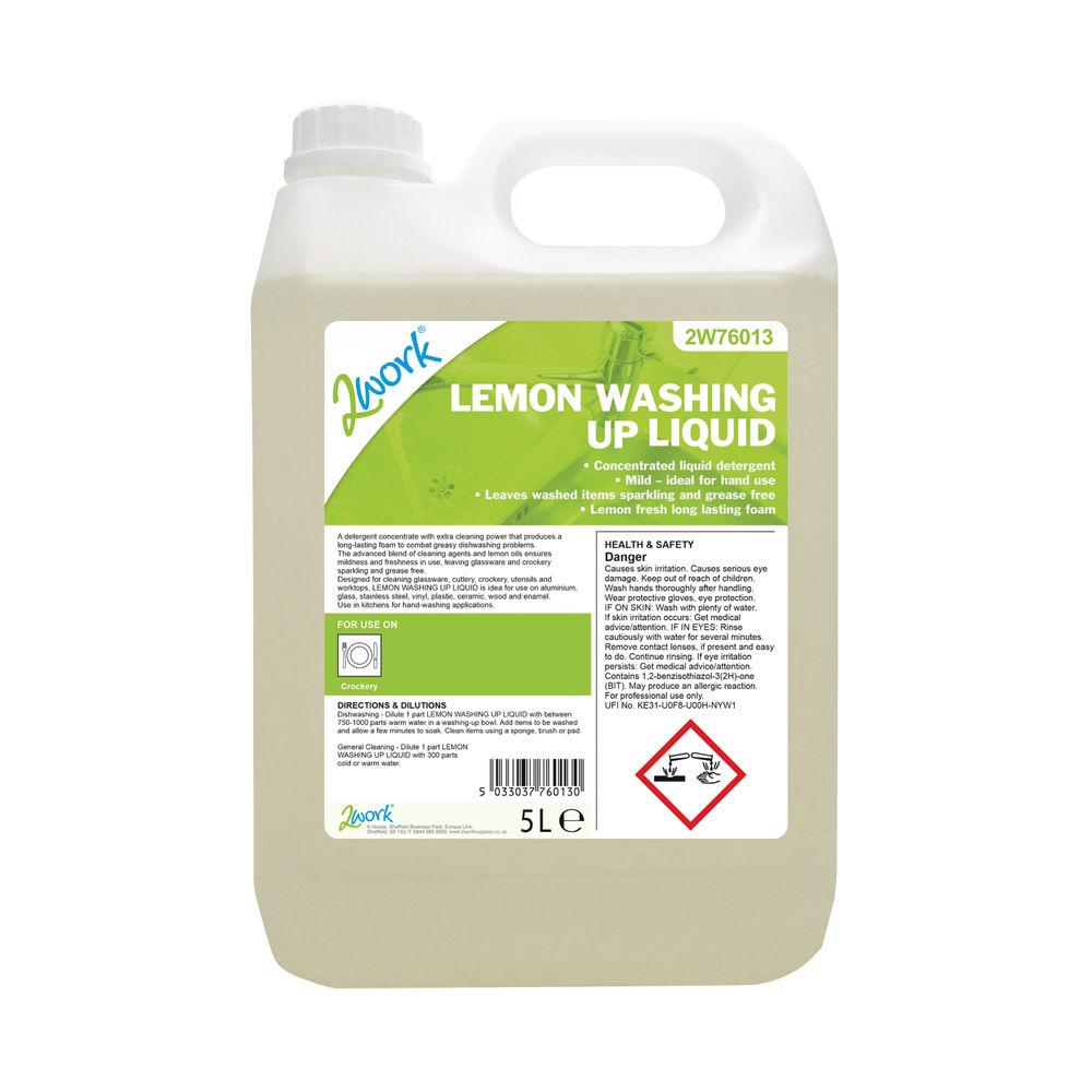 2Work Washing Up Liquid Lemon Scent 5 Litre Bulk Bottle 2W76013