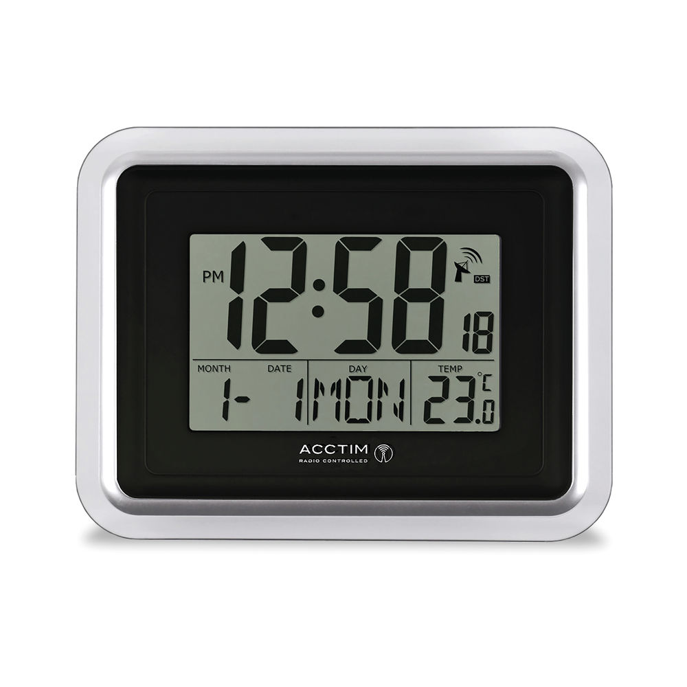 Acctim Delta Radio Controlled Digital Clock Silver/White 74573