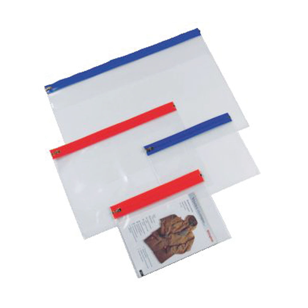 Document Zip Wallet Clear with Blue Zip (Pack of 25) STHS14B
