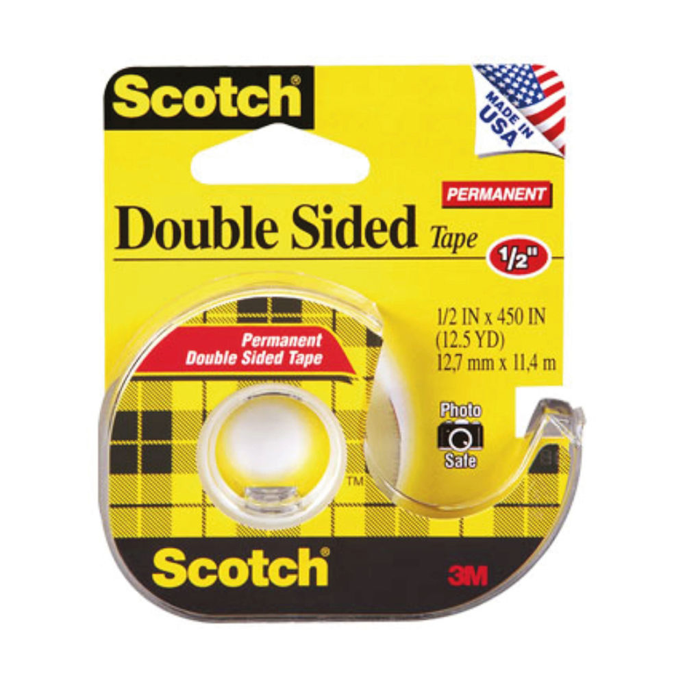 Scotch Double-Sided Tape 12mmx114m Permanent Adhesive Will Not Dry Out Or Yellow Clear 7100085039