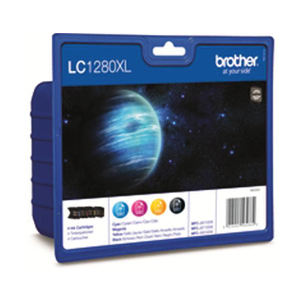 Brother LC-1280XL KCMY High Yield Inkjet Cartridge (Pack of 4) 2075361
