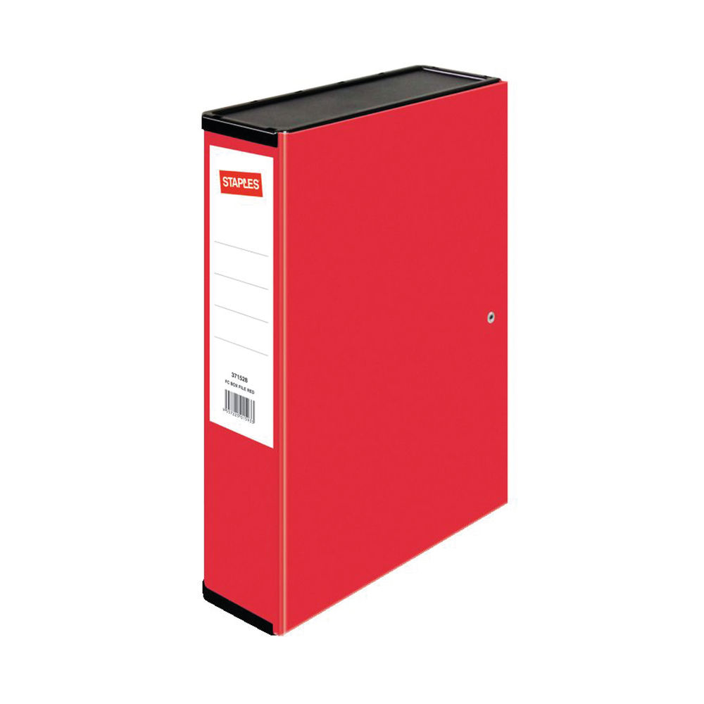 Staples Standard Box File Foolscap Red 242x82x373mm 371528