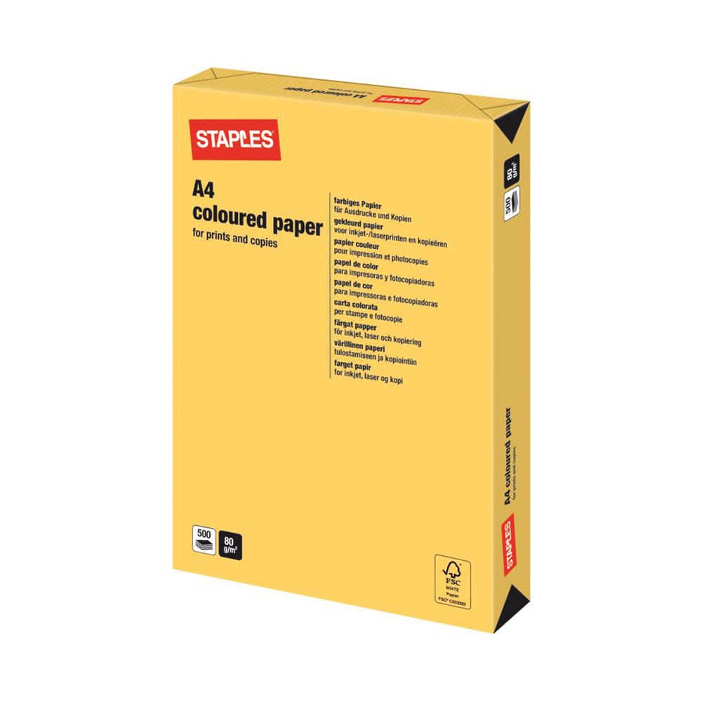 Staples Colour A4 Gold Paper 80gsm (Pack of 500) 7302264