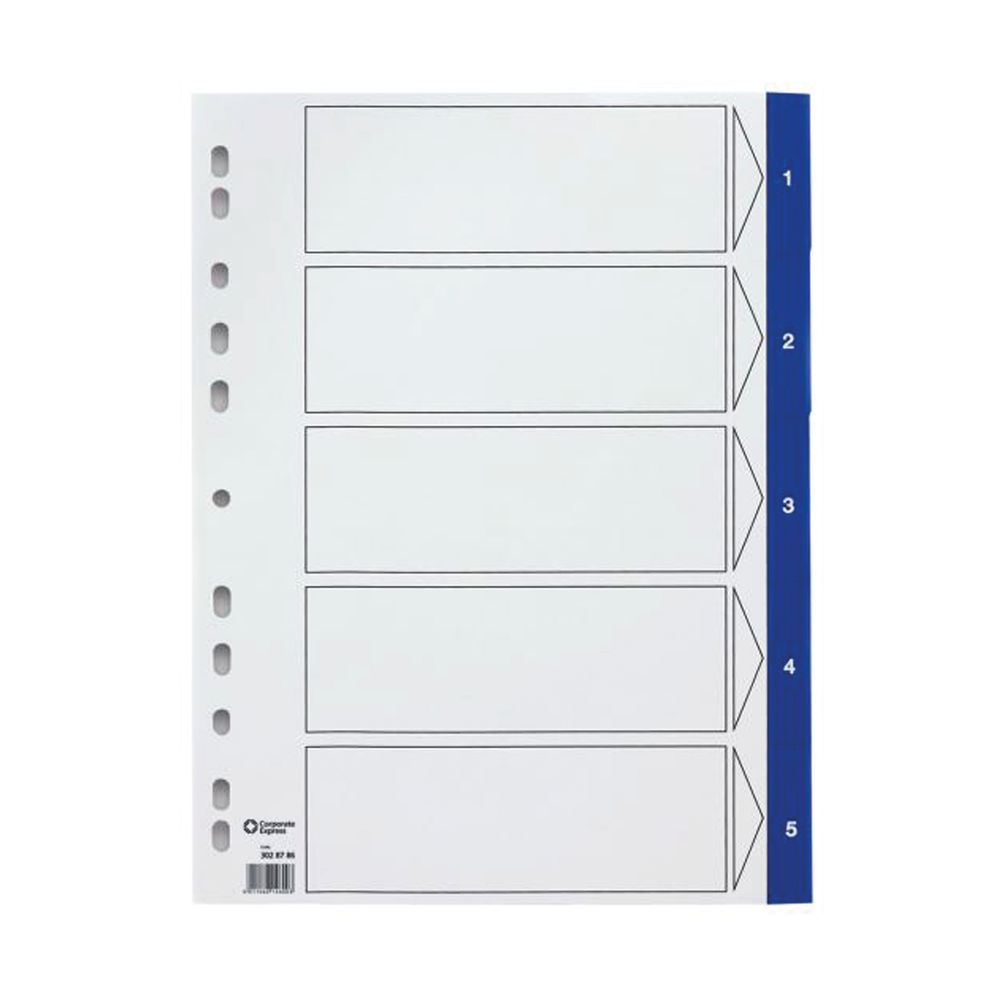 Staples Dividers 20-Part A4 Pre-printed Polypropylene Numeric Titles White with Blue Tab 21494
