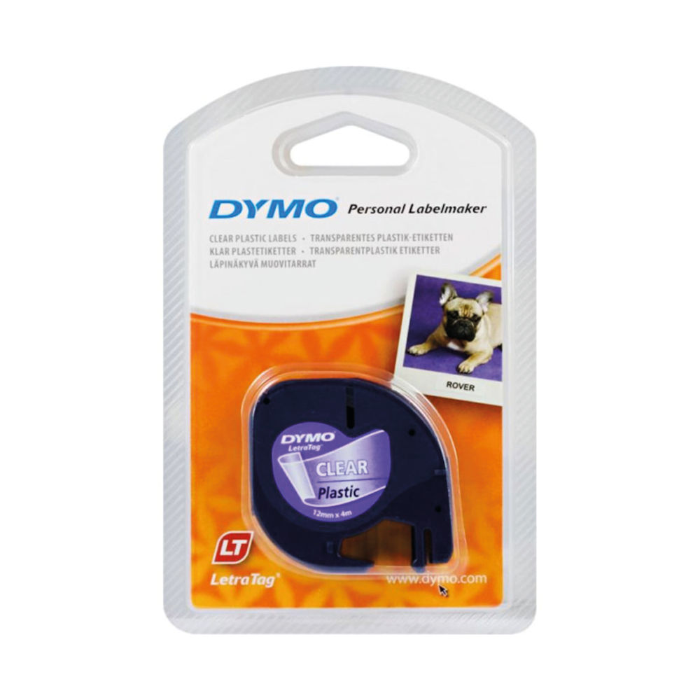 Dymo LetraTAG Labelling Tape 12mm x 4m Black on Clear S0721530