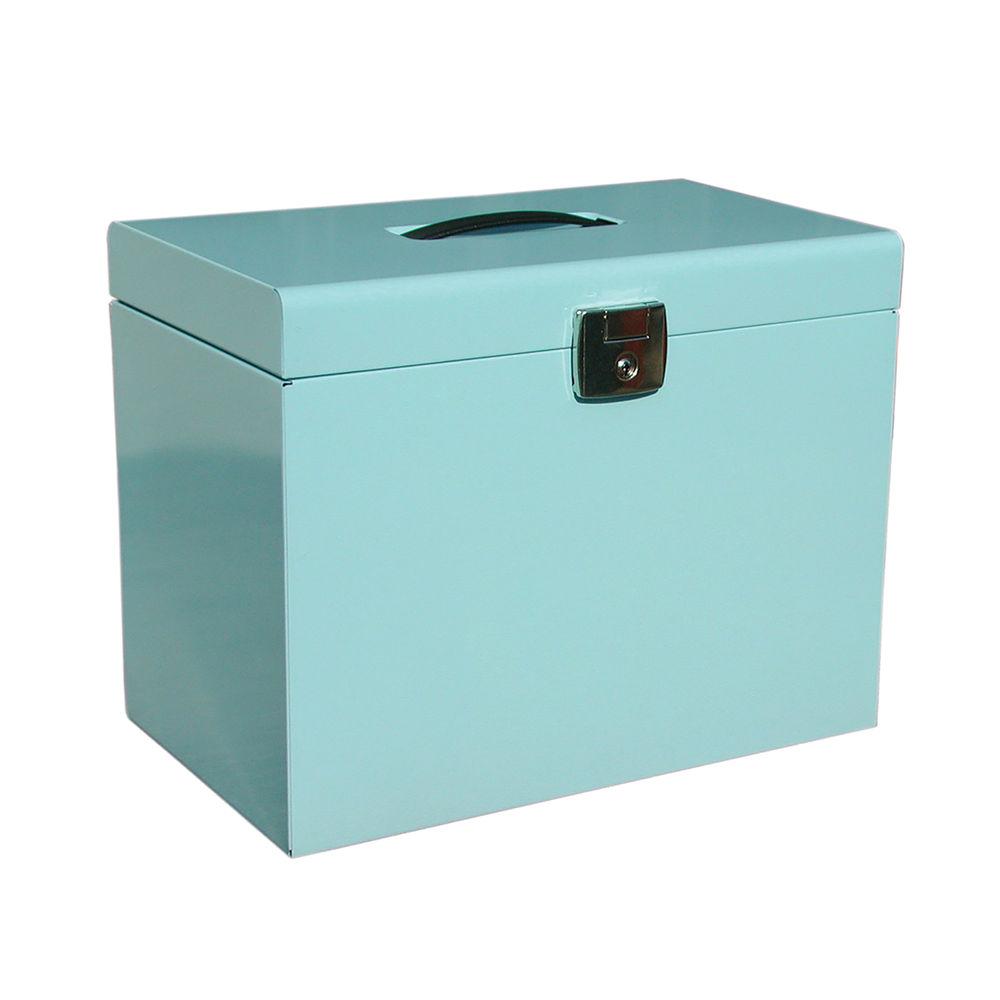 Metal Box File A4 Lockable 290x370x220mm Ice Blue 040125