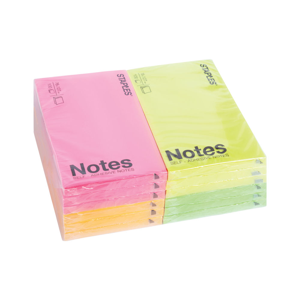 Staples Notes Pads Self-Adhesive 76 x 127mm Neon (Pack of 12) 7284573