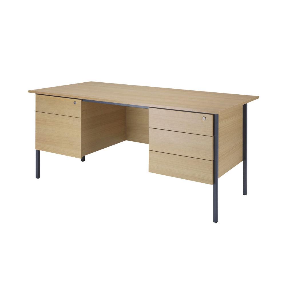 Serrion 1800mm Ferrera Oak Double Pedestals 4 Leg Desk
