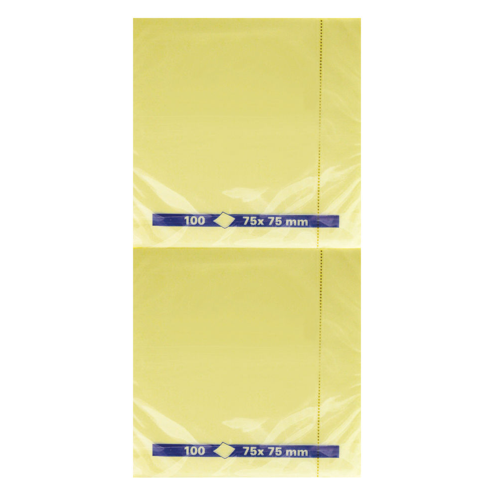 Yellow 75 x 75mm Quick Notes Pads, Pack of 12 - 3-654-01