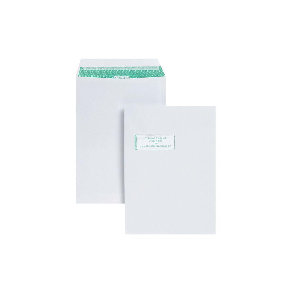 Basildon Bond White C4 Window Envelopes, 120gsm, Pack of 250 - K80121