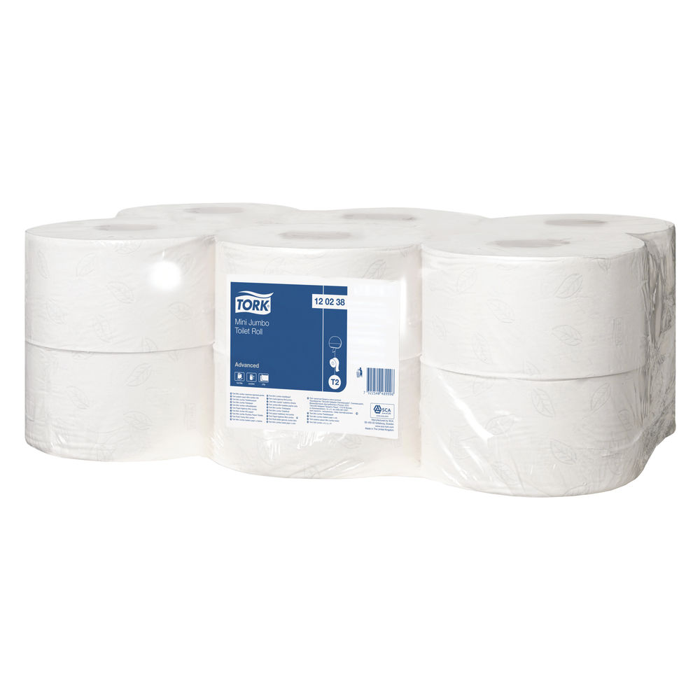Tork T2 Mini Jumbo Toilet Roll 2-Ply (Pack of 12) 120238