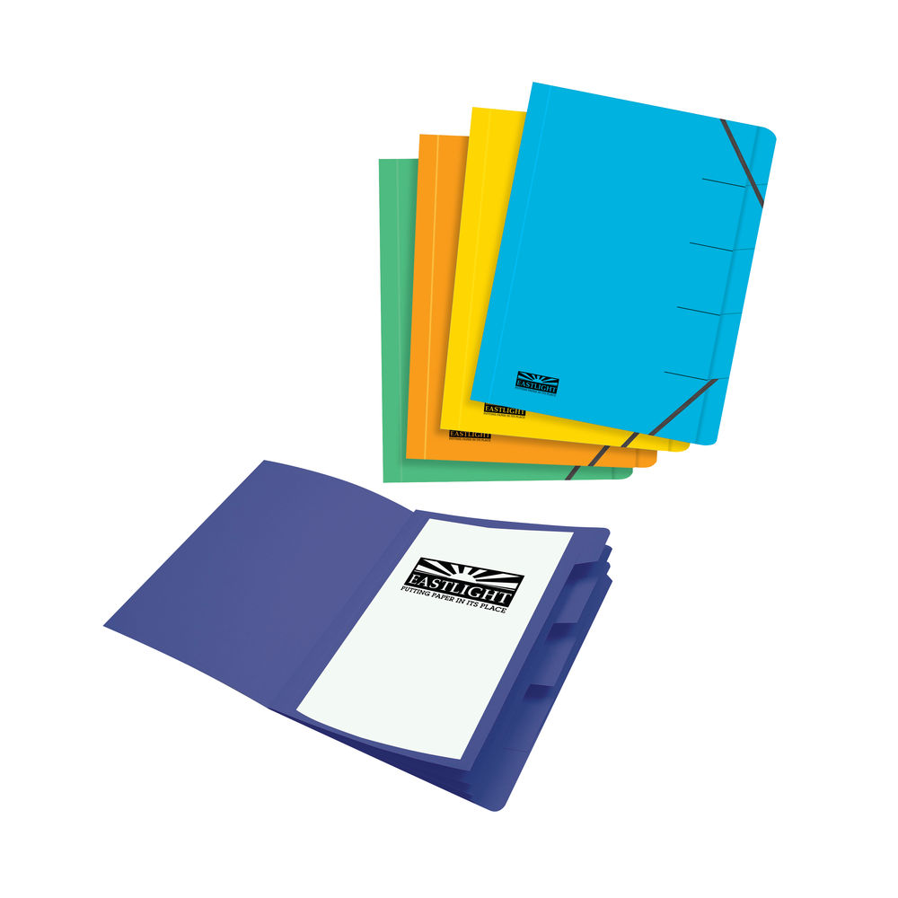 Eastlight Foolscap Assorted Organiser Files (Pack of 5) – EA48121