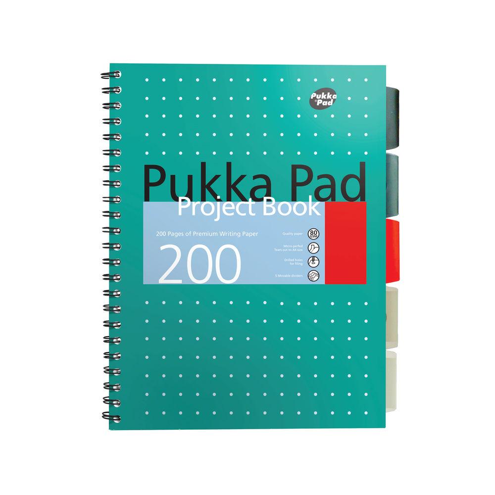 Pukka Pad B5 Metallic Cover Wirebound Project Books, Pack of 3 - 8518-MET