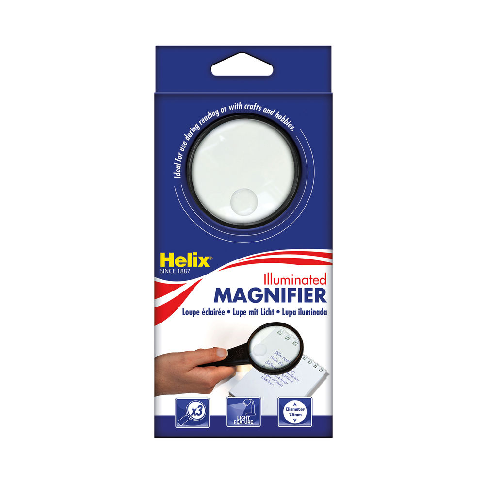 Helix Illuminated Magnifying Glass Hand Held 75mm Black MN1025