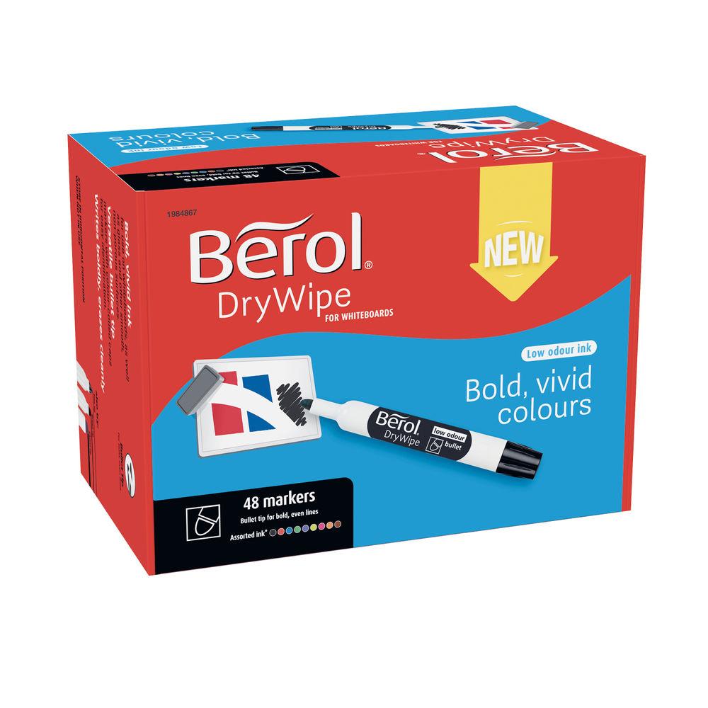 Berol Drywipe Marker Bullet Tip Assorted (Pack of 48) 1984867