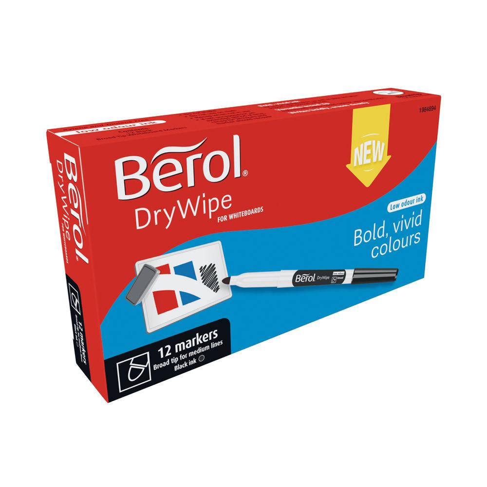 Berol Drywipe Pen Broad Black (Pack of 12) 1984894
