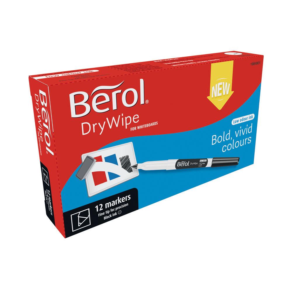 Berol Drywipe Pen Fine Black (Pack of 12) 1984901