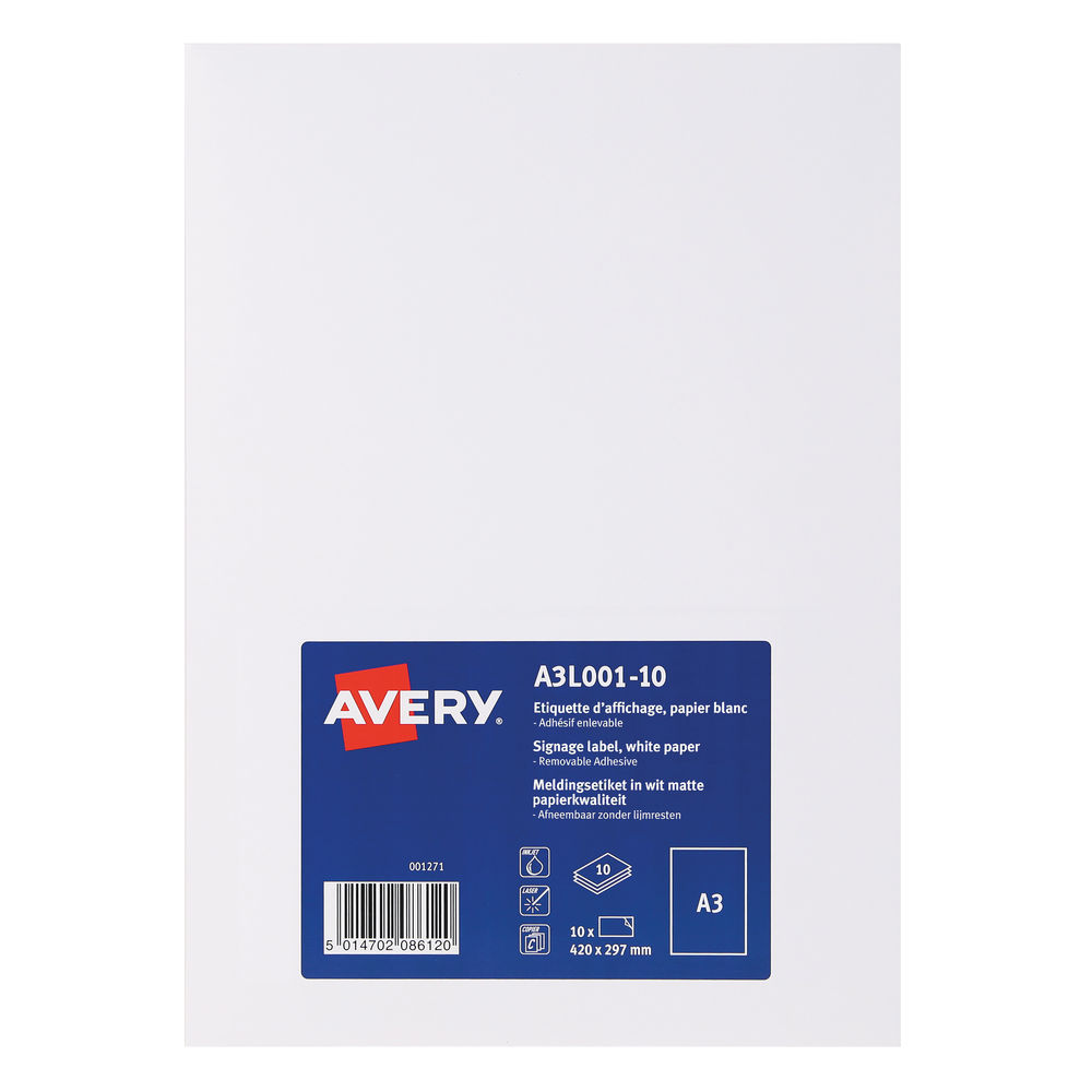 Avery White Standard A3 Display Labels (Pack of 10) - A3L001-10