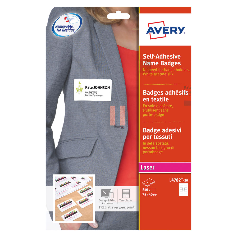 Avery White 75 x 40mm Self-Adhesive Name Badges, Pack of 240 - L4782-20