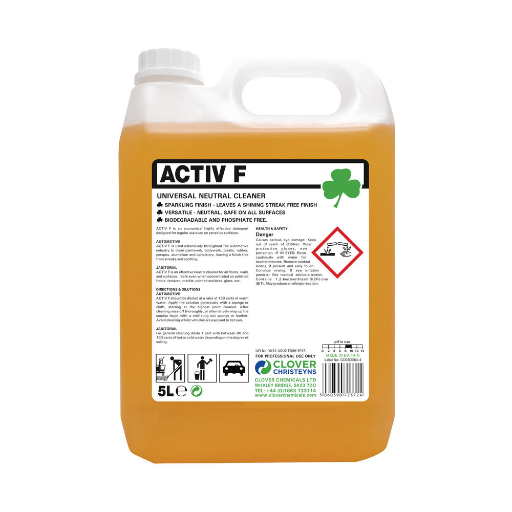 Activ F Universal Neutral Cleaner 5 Litre (Pack of 2) 403