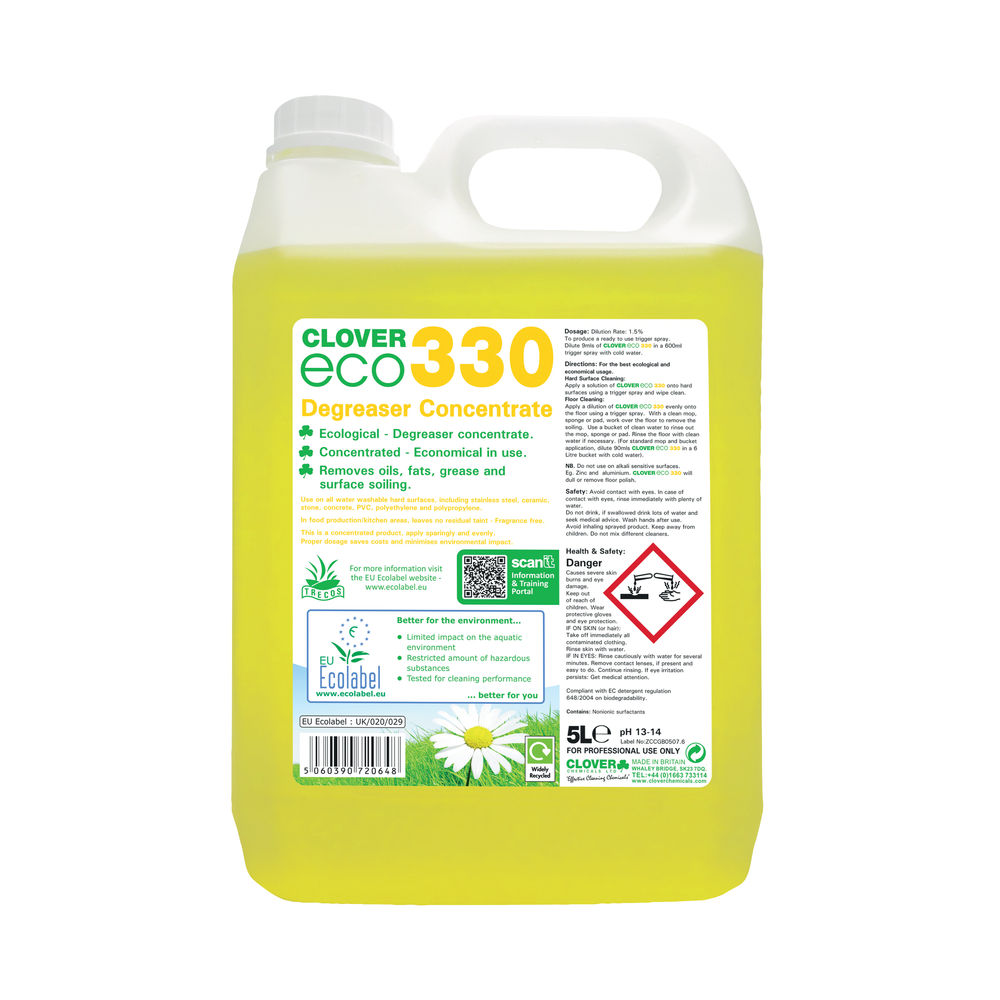 Clover 5 Litre Eco 330 Concentrate Degreaser (Pack of 2) - 330