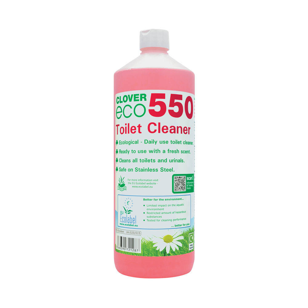 Clover 1 Litre Eco 550 Toilet Cleaner (Pack of 12) - 550